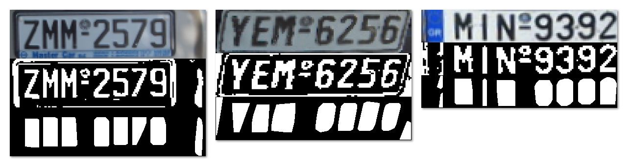 Figure 9: Examples of connected-components (i.e. extraneous parts of the license plate) that were falsely labeled as characters.