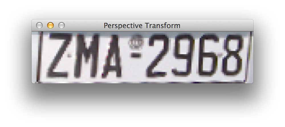 Figure 4: The original license plate could be distorted or skewed which can hurt character classification performance later in the ANPR pipeline. We apply a perspective transform to obtain a top-down, 90 degree viewing angle of the license plate to help alleviate this problem.