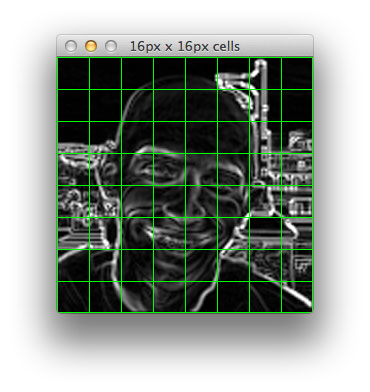 Figure 7: First, let's divide up image up into 16 x 16 pixel cells.