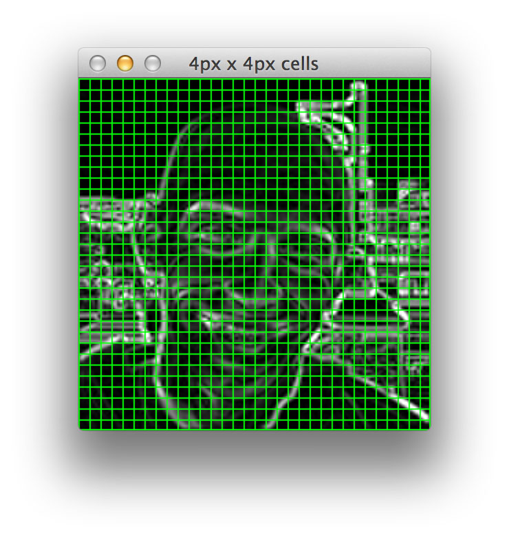 Figure 4: Defining a 4 x 4 pixel cell yields 32 x 32 = 1024 total cells.