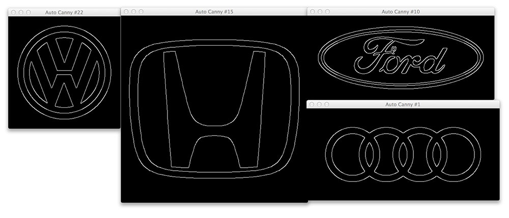 Figure X: Visualizing the edges of the car logo the auto_canny function detected.