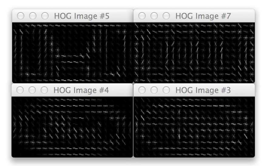 Figure X: A sample of our HOG images visualized. Can you tell which logo is which based only on the visualized HOG Images? Look closely. I bet you can!