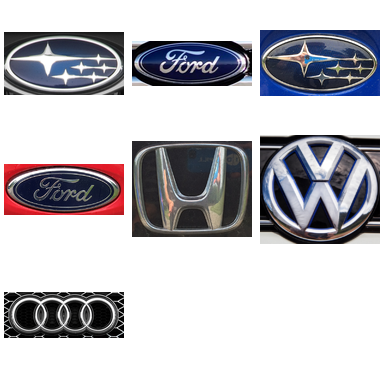 Figure 12: The testing dataset of 7 car logos captured under real-world conditions.