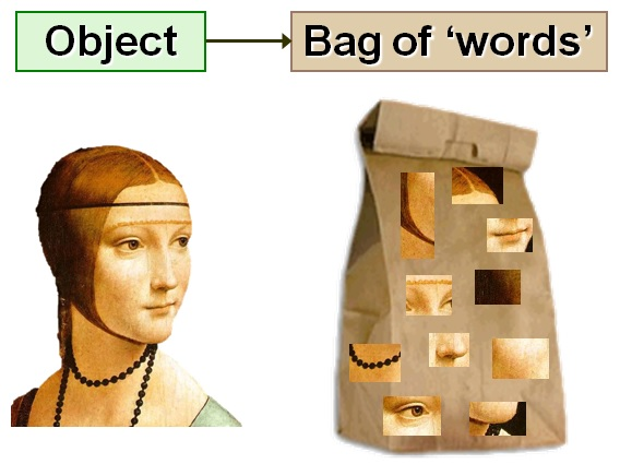 Figure 2: We take a similar approach in computer vision. Only now instead of actual text words, we count the number of times each image patch occurs.